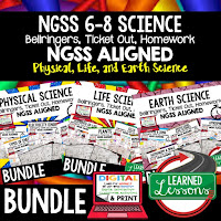 LIFE SCIENCE Warm Ups & Bell Ringers, LIFE SCIENCE Use Ticket Out, Homework NGSS 6-8 Science, Print and Digital
