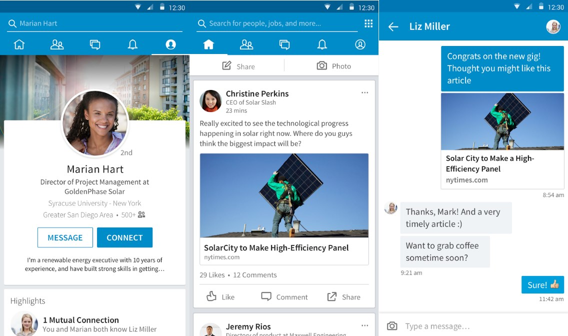LinkedIn For Android - Screenshots
