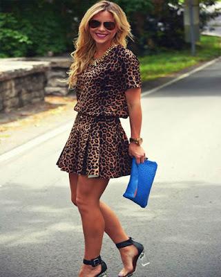 vestido casual corto de leopardo