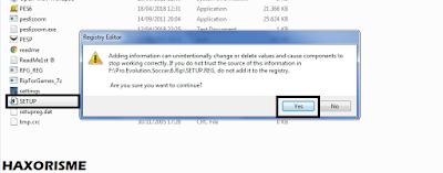 Install File Regedit PES 6