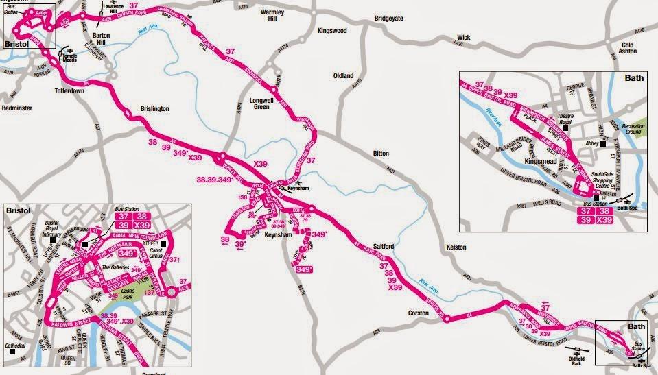 Great British Bus Routes com: X39: Bristol - Bath
