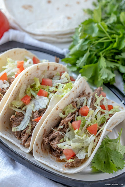 Crock Pot Shredded Beef Tacos recipe from Served Up With Love