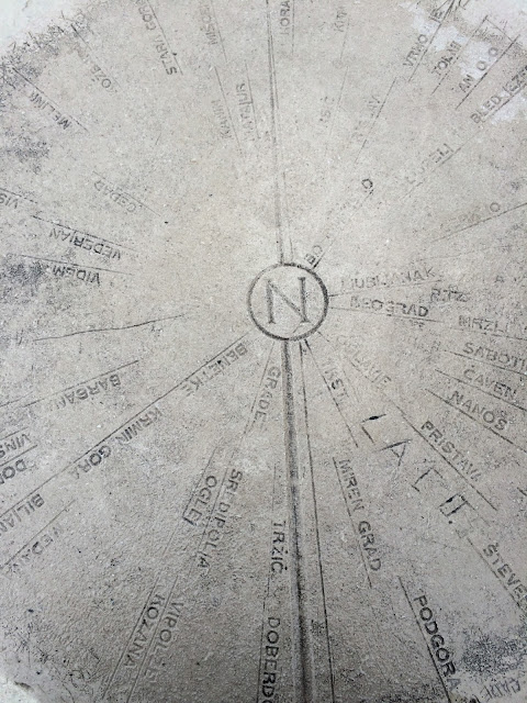 compass and distances in gonjace slovenia belvedere