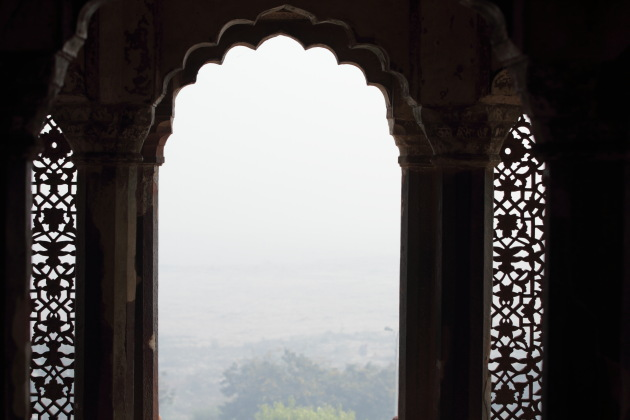 A foggy view of the Yamuna river from one of the rooms in Agra Fort