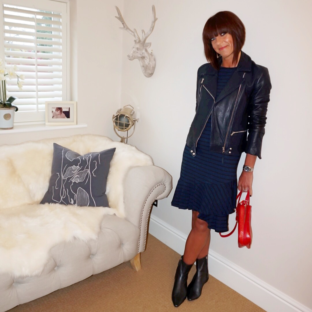 my midlife fashion, massimo dutti leather biker jacket, people tree kaya frill detail dress, zara fitted ankle boots, uterque mock croc crossbody bag