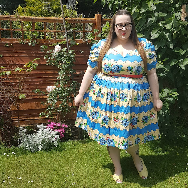 Lindy Bop Francine rose stripe plus size  swing dress