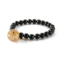 "LISA HOFFMAN FOR ORIGAMI OWL BLACK ONYX BEAD BRACELET 7"" WITH GOLD FRAGRANCE PENDANT available at StoriedCharms.com"