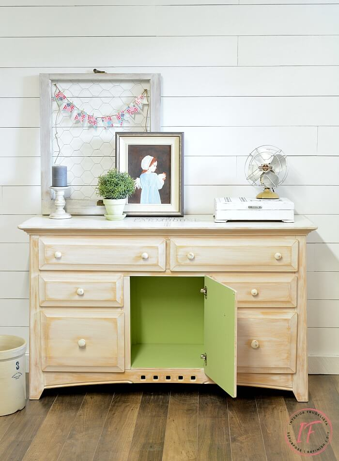 White Sideboard Buffet With Green Painted Interior