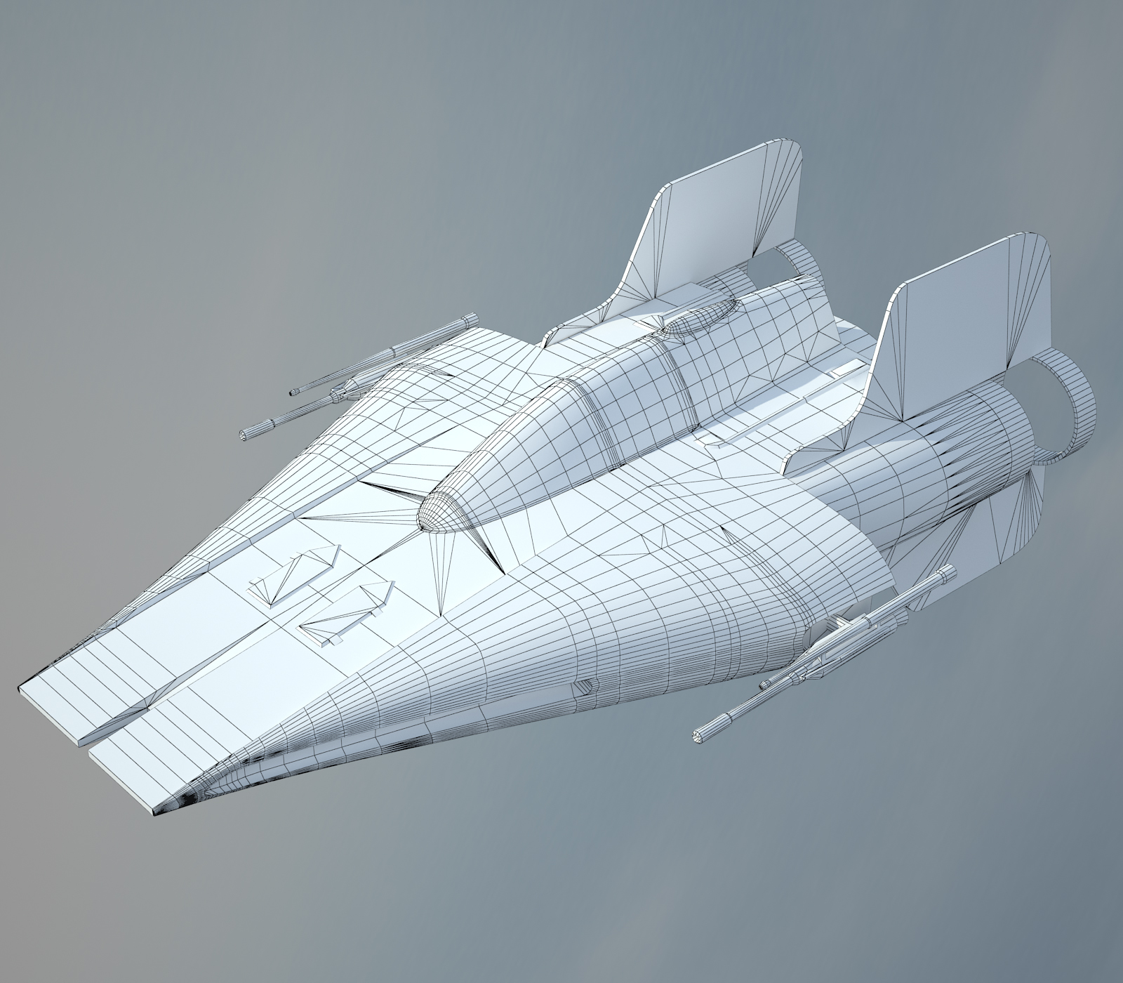 Game Ready Star Wars RZ-1 A-wing interceptor Starfighter 3D Model