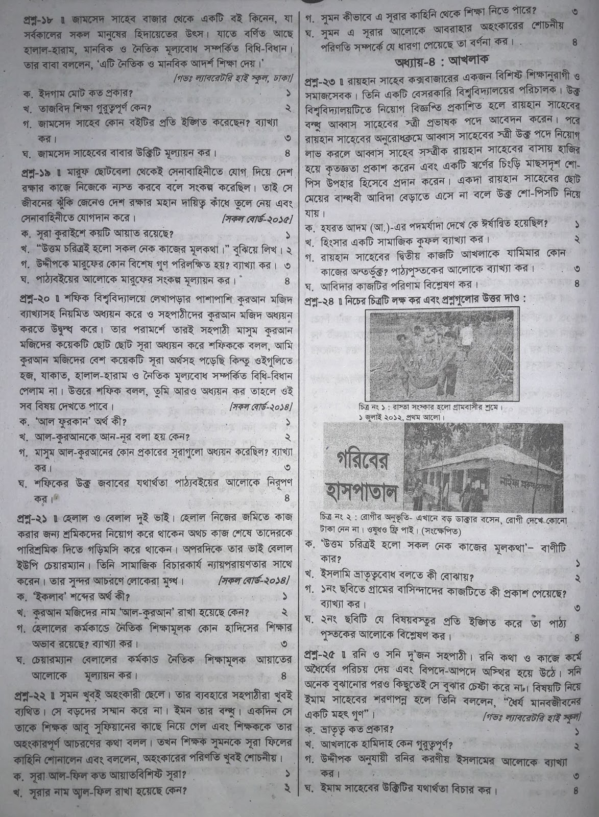 jsc Islam and Moral Education suggestion, exam question paper, model question, mcq question, question pattern, preparation for dhaka board, all boards