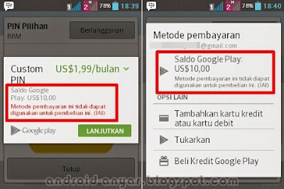 Mengapa tidak bisa berlangganan PIN Pilihan BBM Custom PIN menggunakan saldo kupon hadiah Google Play Store Gift Card gratis?