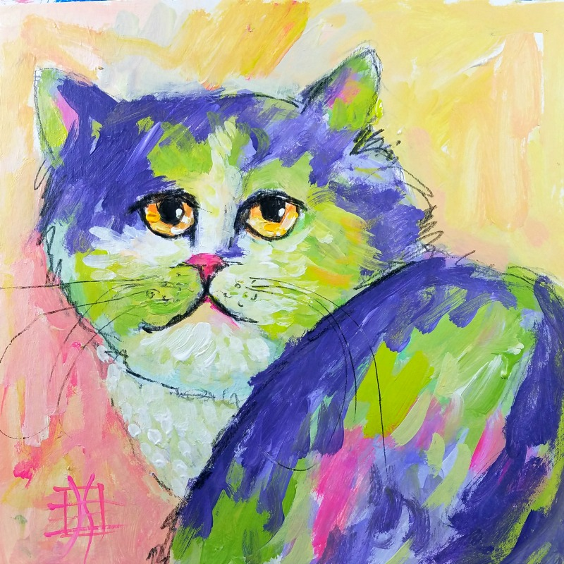 cat #5 by joanie springer 30 paintings in 30 days