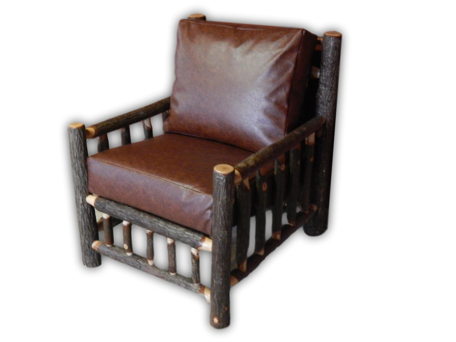 Hickory Log Living Room Chair With Recycled Leather Custions