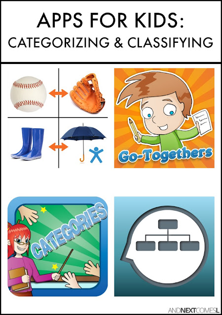 Speech apps for kids with autism or hyperlexia to practice classifying and categorizing objects as well as making associations from And Next Comes L