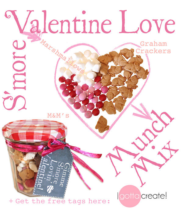 Yum! How to make S'more Munch Mix | for free printables for Valentines Day visit I Gotta Create!