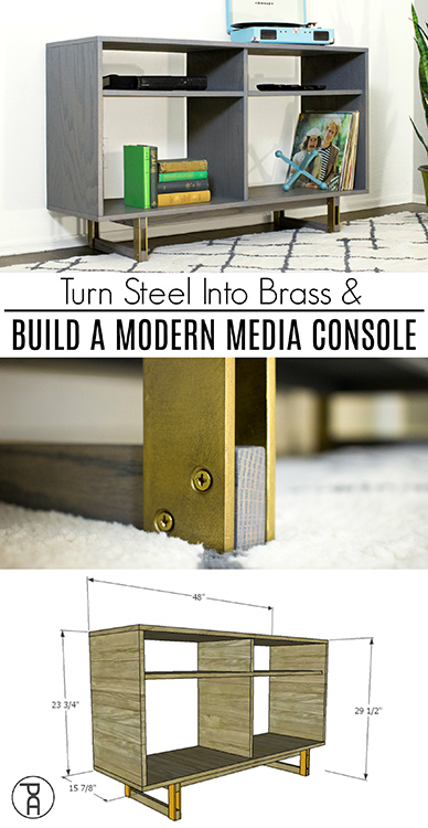 Video building tutorial showing you how to build a modern media console from a single sheet of plywood and apply brass brush plating to steel