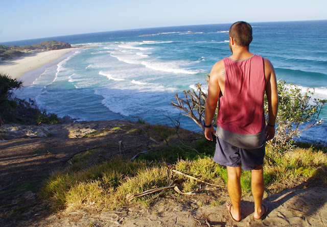 Male overlooking Deadman's Beach Stradbroke Island