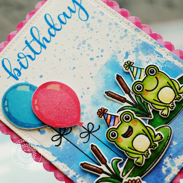 Sunny Studio Stamps: Birthday Balloon Pink and Blue Froggy Friends Birthday Card by Lexa Levana