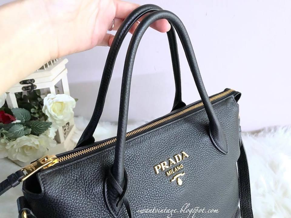 c31f6bd3fbe3 Prada 1BA157 Vitello Daino Bag-Black Calf leather