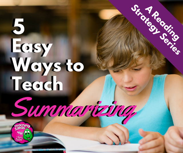 Summarizing is an important reading strategy to master, especially when students begin reading to learn. Discover five easy ways to teach summarizing to upper elementary students.