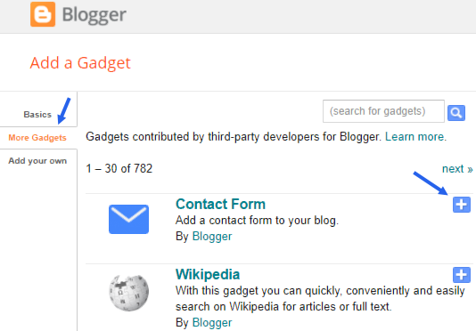 Adding contact widget to blogger