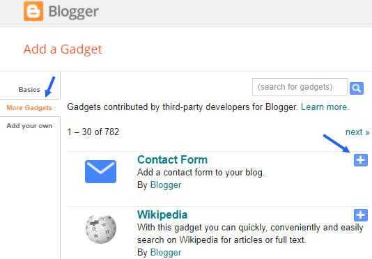 Adding contact widget to blogger