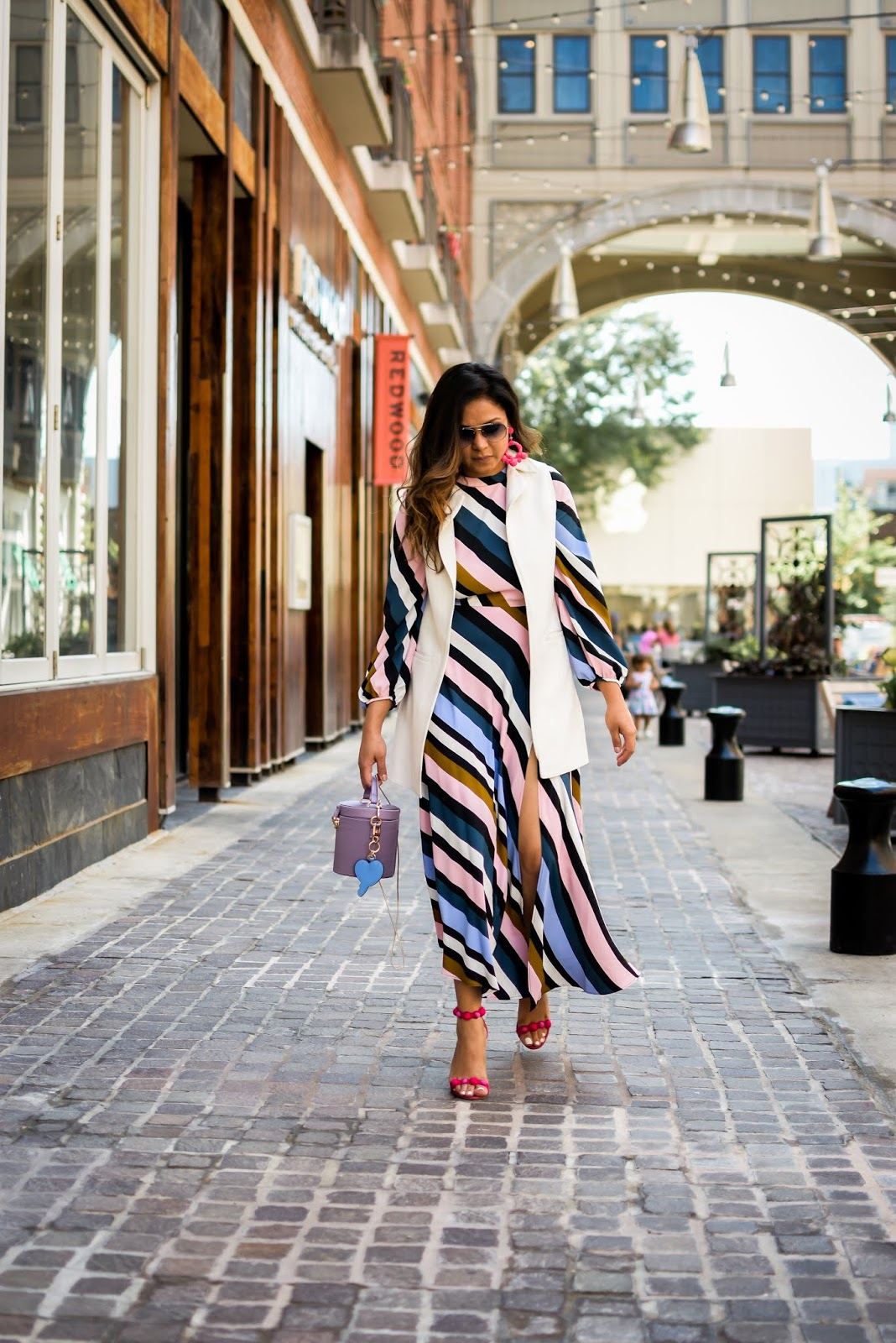 topshop stripe dress, front slit dress nordstrom, under $100 dress, fall dresses, white vest, gillet style, sam edleman pink beaded heels, fall ootd, fall fashion, dc blogger, statement earrings, myriad musings