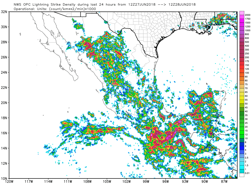 weather graphics and vaisala for the southwest above and mexico below show that mexico was very active yesterday south of 28 degrees north