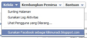 Menu di Panel Admin Halaman Facebook