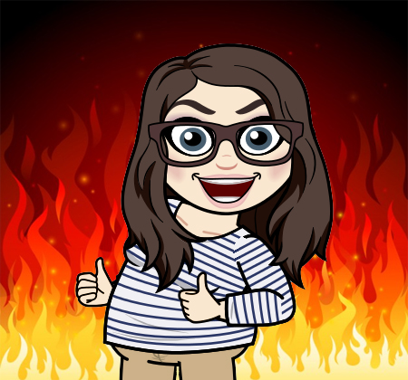cartoon version of me with a big sarcastic grin giving two thumbs up, against a backdrop of flames