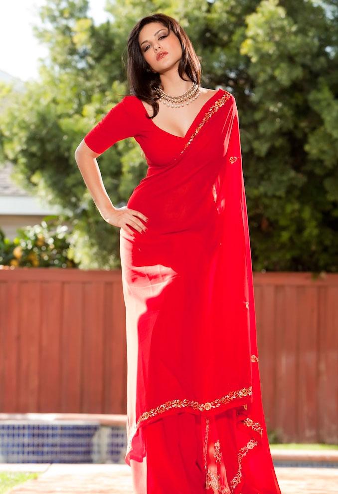 Kashmira Shah Sunny Leone Photos In Sexy Red Saree-9922
