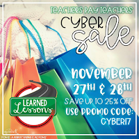 #CYBER17 TPT SALE, 25% OFF Learned Lessons Teaching Material