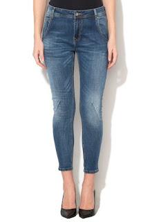 Jeansi crop skinny conici albastri