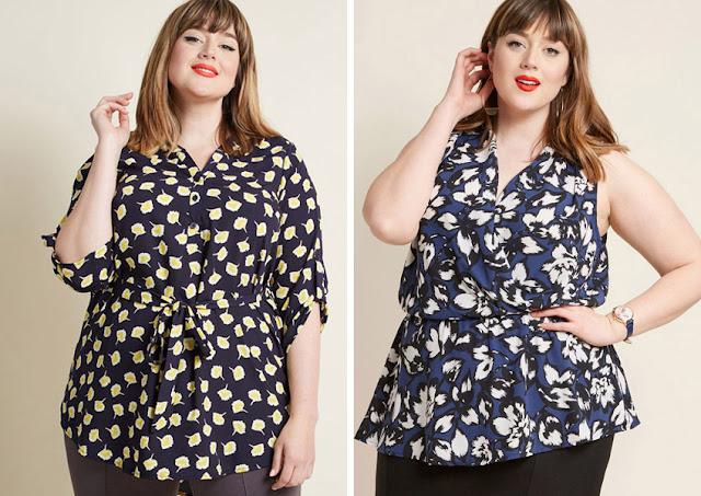 Полная девушка в блузках с мелким и крупным цветочным принтом