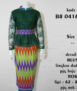 Model Dress Batik Kombinasi Brokat simpel