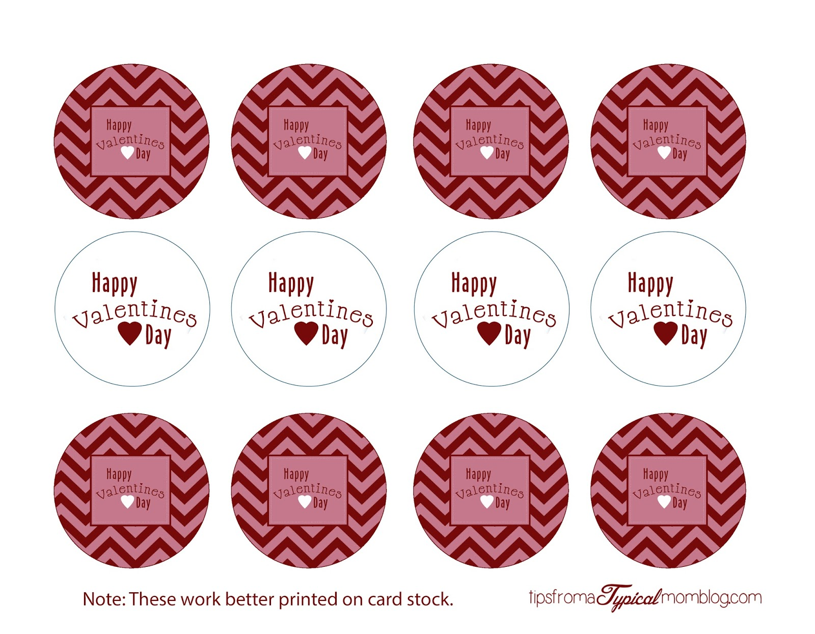 Valentines Day cupcake topper printables.