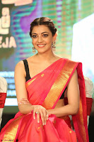 Kajal Aggarwal in Red Saree Sleeveless Black Blouse Choli at Santosham awards 2017 curtain raiser press meet 02.08.2017 046.JPG