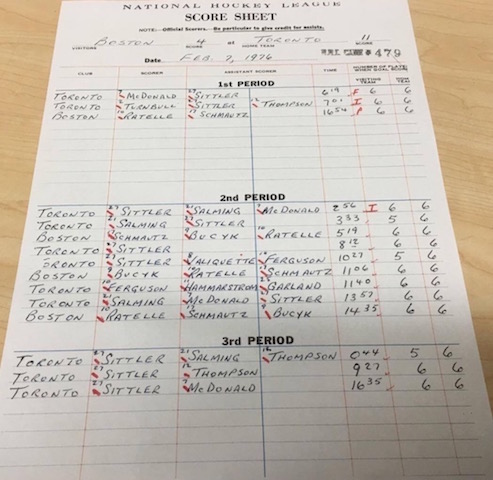 Hockey Then  Now A GAME TO REMEMBER - hockey score sheet