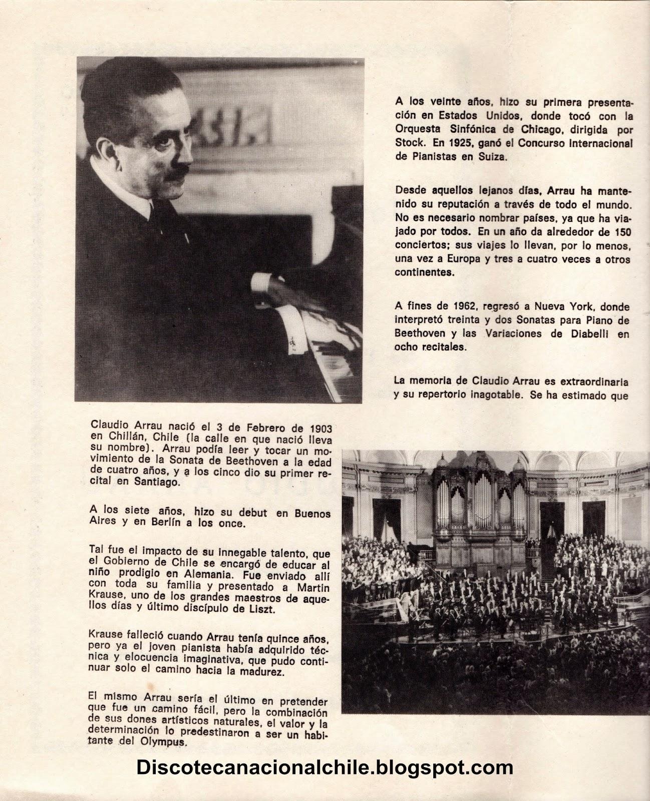 Discoteca Nacional Chile: Claudio Arrau. Concierto piano ... - photo#48