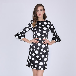 Women's Dress Sheath Polka Dot Flare Sleeves