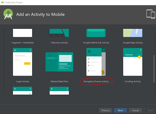 membuat navigation drawer di android dengan android studio