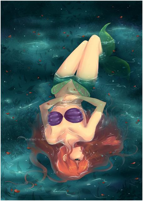 Preciosa Sirena Tumbada Dibujada - Imagenes Y Carteles-6936