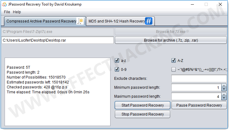 JPassword Recovery Running Screenshot