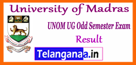 UNOM University of Madras UG CBCS 1st 3rd 5th Semester Exam Result 2017
