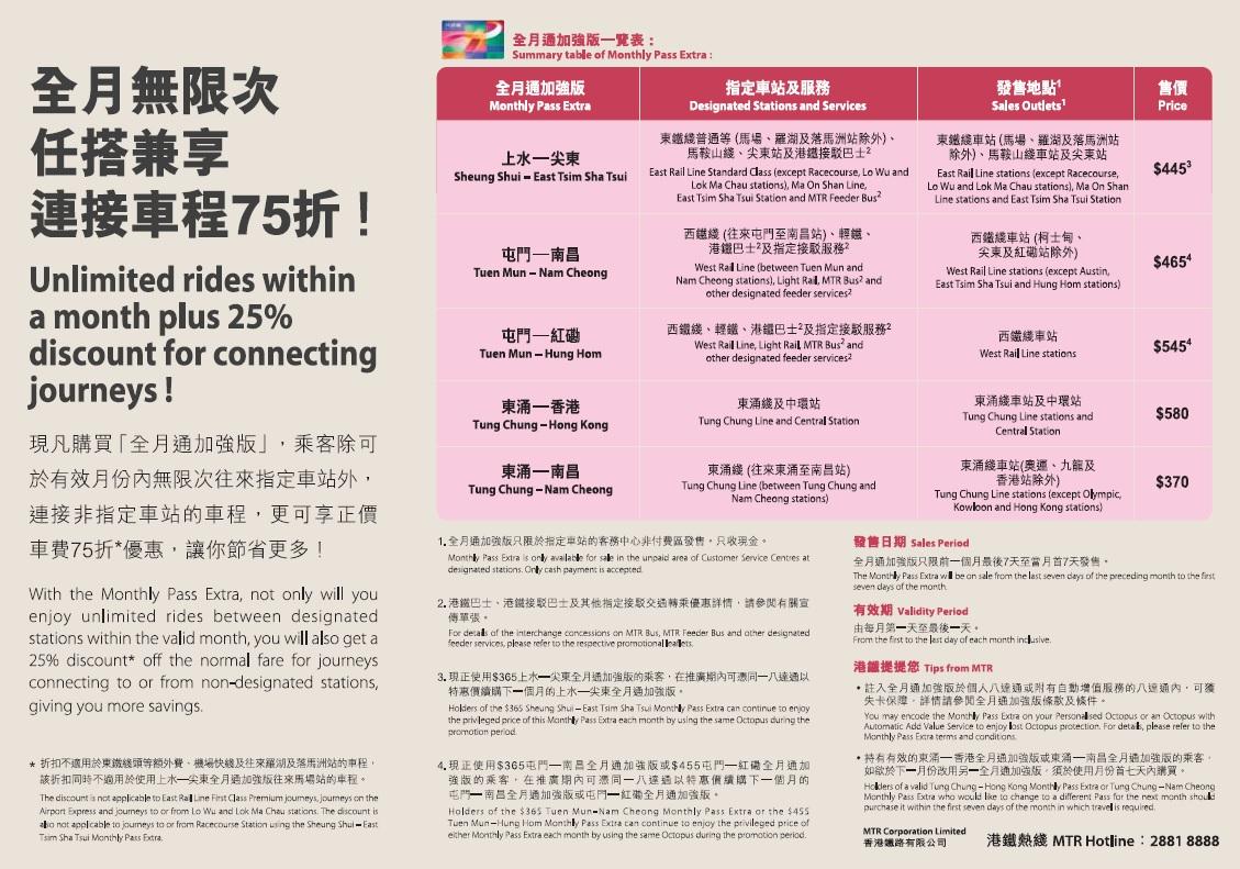 車票 Tickets : 全月通加強版 (2014.07.01)