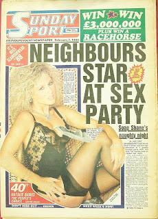 Front page of a vintage Sunday Sport newspaper with photo of Gaynor Goodman
