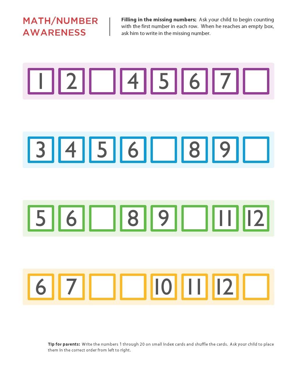 Kindergarten Worksheets Maths Worksheets Filling The