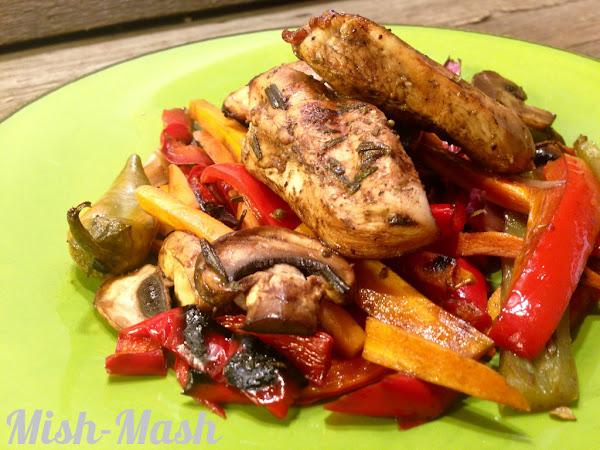 Пиле балсамико със зеленчуци