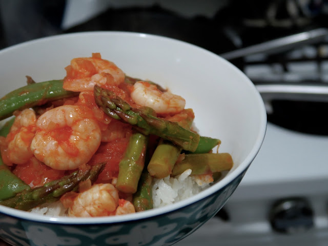 Sriracha Prawns over Coconut Rice | salt sugar and i