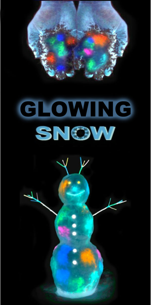 "MAKE SNOW GLOW-IN-THE-DARK!  How ""cool!"" Can't wait to try this! #glowsnowman #glowsnow #snowrecipesforkids #snowpaint #snowpainting #snowpaintingforkids #snowrecipes #glowinthedarksnow"